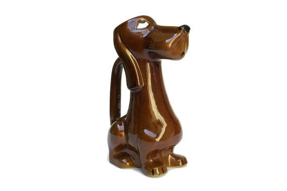 Vintage Wiener Dog Water Pitcher, French Poet Laval Dachshund Jug, Mid Century Ceramic Sausage Dog Figure