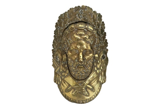 Antique French Bronze Billiard Table Pocket with Hercules Face Portrait, Pool Table Parts