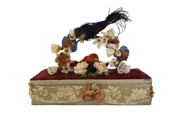 Antique Victorian Music Box with Bird Figures and Silk Flowers covered in French Lace and Velvet