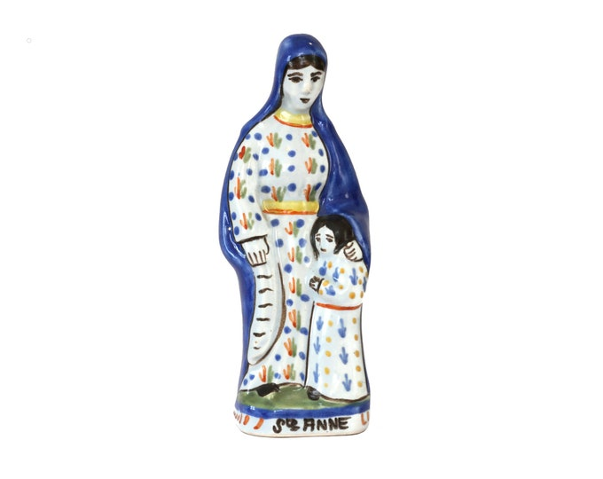 Henriot Quimper Saint Anne and Virgin Mary Statuette, Hand Painted Ceramic, French Mother and Child Christian Figurine