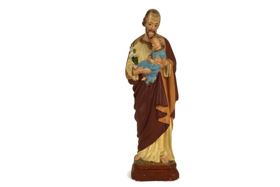 Antique Saint Joseph and Jesus Statue