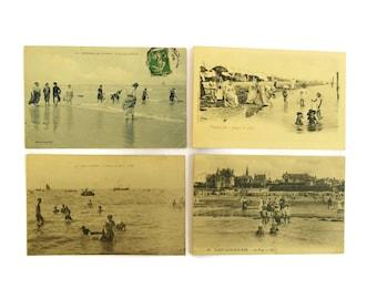 Antique Seaside Postcards.  Antique French Tourist Souvenir Post card Collection.