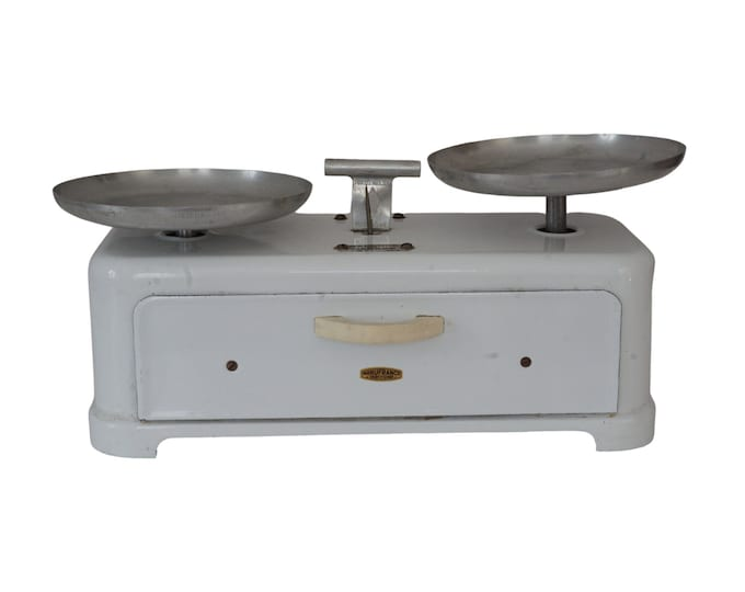 French Enamel Kitchen Scales Balance with Set of Weights, Retro Mid Century Decor