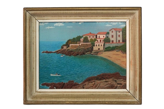 French Coastal Landscape and Beach Painting, Original Signed Art, Mediterranean Home Decor