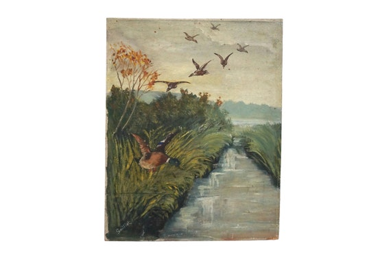 Flying Wild Ducks Painting in Country Landscape with River, French Wall Art