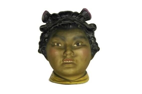 Antique Geisha Porcelain Tobacco Jar, Gift For Smoker, Asian Figurine Home Decor