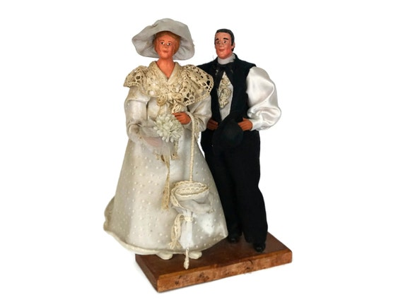 French Wedding Bride and Groom Folk Art Dolls, Traditional Married Couple Santon Figurines