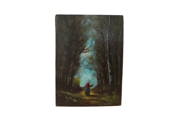 Old Lady in Forest Painting, Miniature French Tree and Woodland Landscape Art