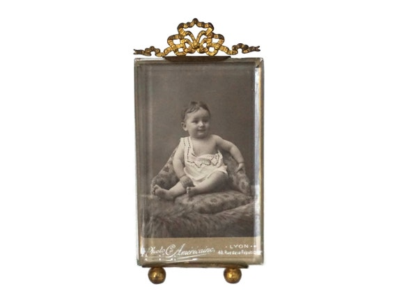 French Antique Photo Frame with Ribbon and Beveled Glass, Victorian Baby Portrait