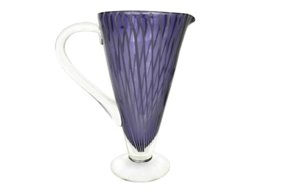Vintage Murano Glass Cocktail Pitcher, Purple Striped Vase, Retro Barware