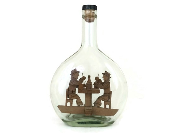 Vintage Whimsy Impossible Bottle with Wooden Card Player Figurines, French Carved Wood Folk Art, Bar Decor Gifts For Him