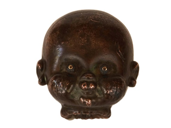 Antique Copper Doll Head Mold, Industrial Decor and Collectible Oddity