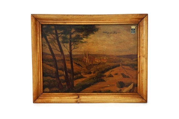Antique French Church Painting of Frigolet Abbey in Country Landscape, Provence Wall Art