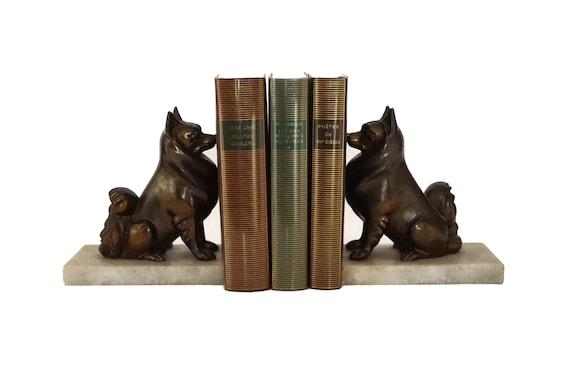 Art Deco Pomeranian Statue Bookends, French Antique Toy Pom Dog Decor