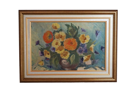 Aster Flowers in Vase Painting, Antique French Floral Bouquet Still Life Art