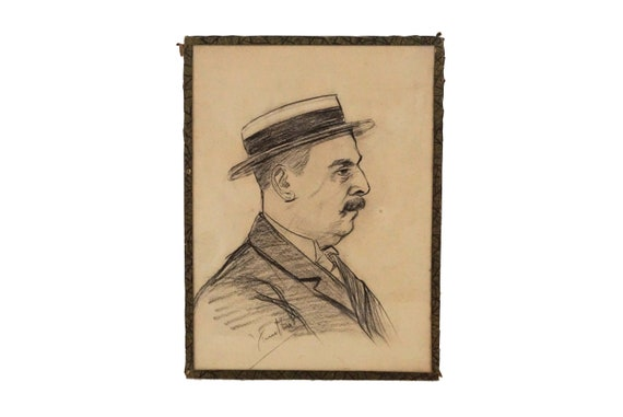 French Antique Man Portrait Drawing with Hat and Mustache,  Signed Original Art
