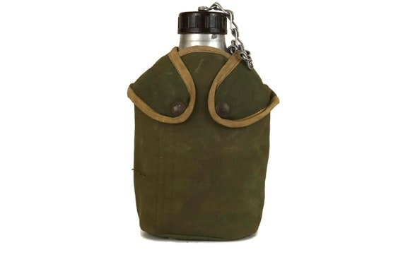 Vintage French Military Water Flask, Army Canteen Bottle