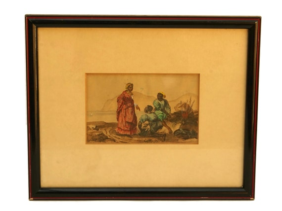 Antique Caribbean Coastal Art Print, Hand Colored Engraving, Curiosity Cabinet Decor