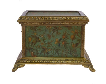 Antique French Jewelry Casket with Butterfly and Flower Art Print
