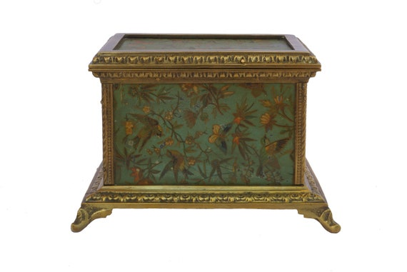 Antique French Jewelry Casket with Butterfly and Flower Art Print, Bronze Jewellery Box
