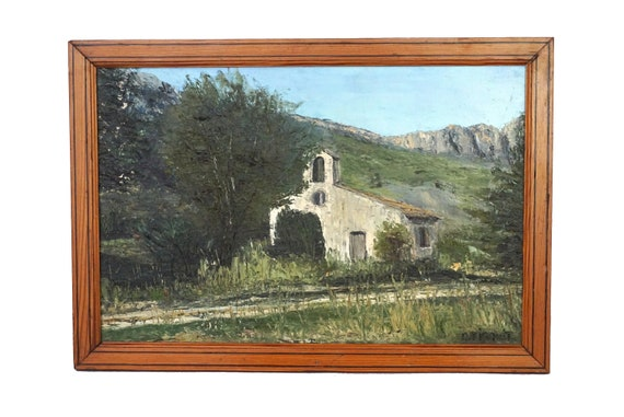 French Country Church and Mountain Painting, Rustic Provencal Landscape Wall Art