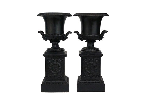 French Antique Mantel Garniture Urns, Pair of Small Cast Iron Medici Garden Planters
