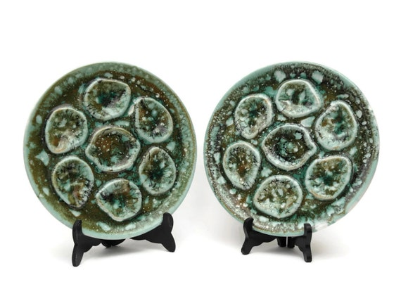 French Ceramic Oyster Serving Plates, Mid Century Majolica Seafood Platters
