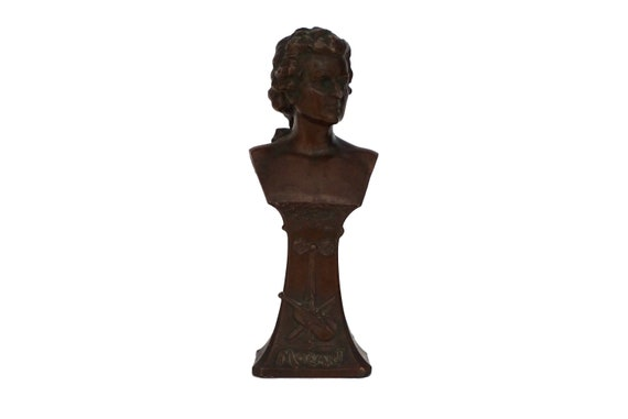 Antique Mozart Head Bust Statue, Classical Music Composer Gift and Decor