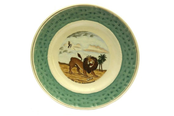 La Fontaine Fables Wall Plate, The Lion and The Fly, Vintage French Faience