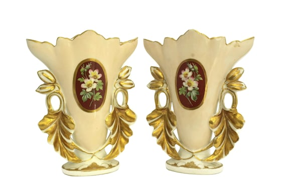 Antique Porcelain of Paris Wedding Vases, Ceramic Bridal Flower Pot with Acanthus leaves, Napoleon III Style, Shabby French Decor