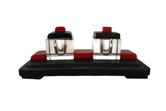 Art Deco Glass Inkwell Set, Antique French Desk Organizer