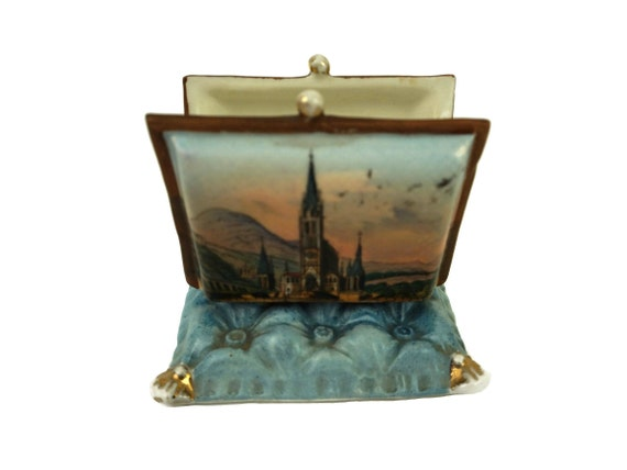 Antique French Porcelain Rosary Purse, Lourdes Rosary Basilica Souvenir, Religious Jewelry Holder