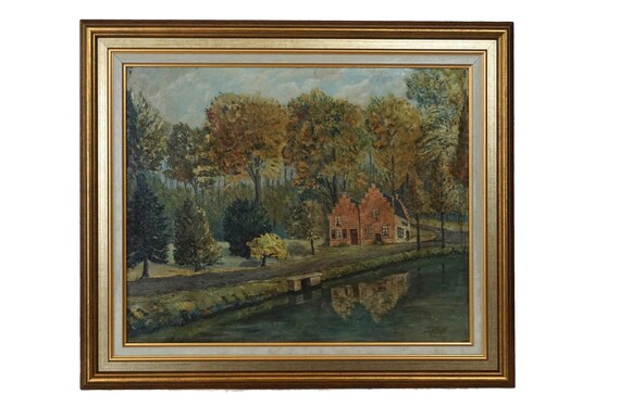 The Spanish House in Brussels Landscape Painting with Pond and Trees, Original Framed and Signed Architectural Art