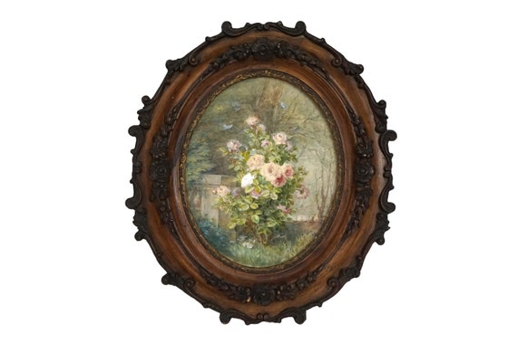 Antique French Rose Painting, 19th Century Flower Frame and Still Life Art