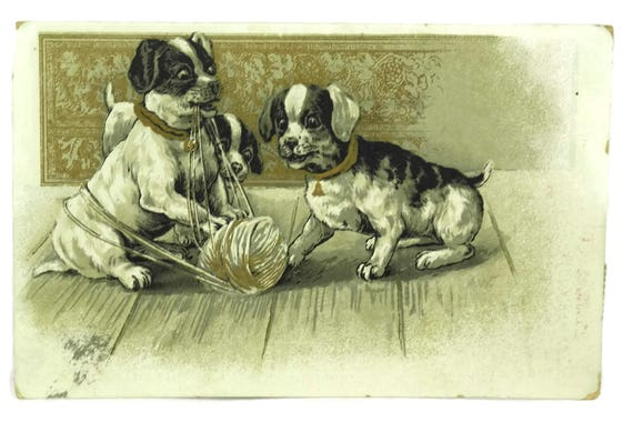 Antique Puppy Dog Postcard. Illustrated Art Print Post Card. Dog Lover Gift. Old Greeting Card Paper Ephemera Scrapbook Craft Supply