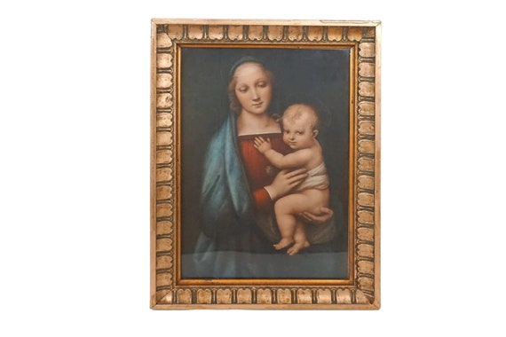 Madonna and Child Portrait Art Print, Mary and Baby Jesus Religious Icon
