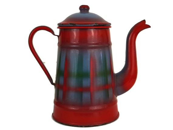 Red Enamel Camping Coffee Pot
