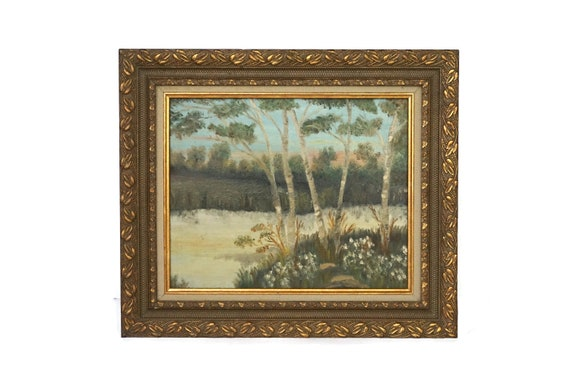 Antique French Country Landscape Painting with Trees and River, Original Framed Art