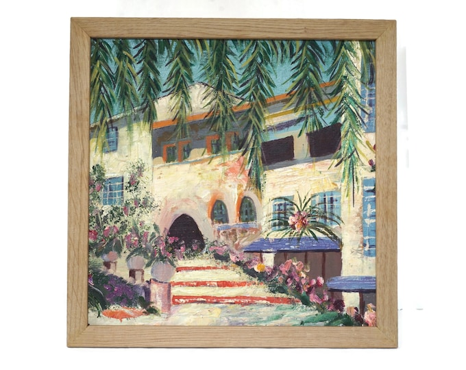 French Riviera Landscape and Architecture Painting, Mediterranean Garden Art