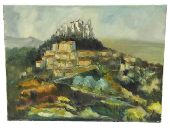 French Country Landscape Painting by Pierre Eugene Chauvet. Rustic Landscape Oil Painting. Provencal Decor.