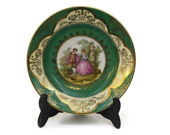 French Romantic Porcelain Plate with Fragonard Illustration. Green and Gold Porcelain Wall Plate.
