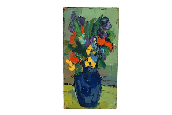 Iris Still Life Oil Painting, French Flower Bouquet Vase Art, Blue and Orange Original Art