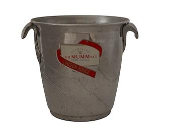Mumm Cordon Rouge Champagne Chiller, French Advertising Barware Ice Bucket Wine Cooler