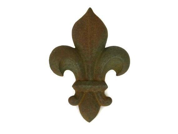 Antique Fleur de Lys Garden Ornament, Cast Iron Architectural Fleur de Lis, French Chateau Decor