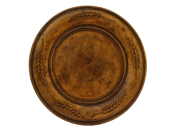 Hand Carved Wood Bread Board, French Antique Wooden Plate