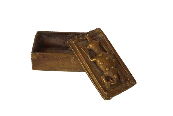 Antique Akan Gold Dust Box, African Brass Crocodile