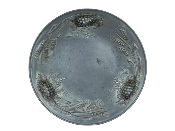 Pewter Wheat and Grapes Bowl by Berendsohn, Large Fruit Platter
