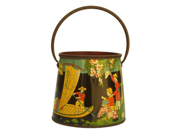 French Art Deco Tin Box With Japanese Style Litho Print, Metal Milk Pail