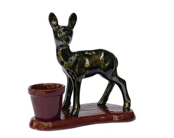 French Mid Century Deer Figurine with Cactus Plant Pot. Vintage Vallauris Ceramic Bambi Statuette.