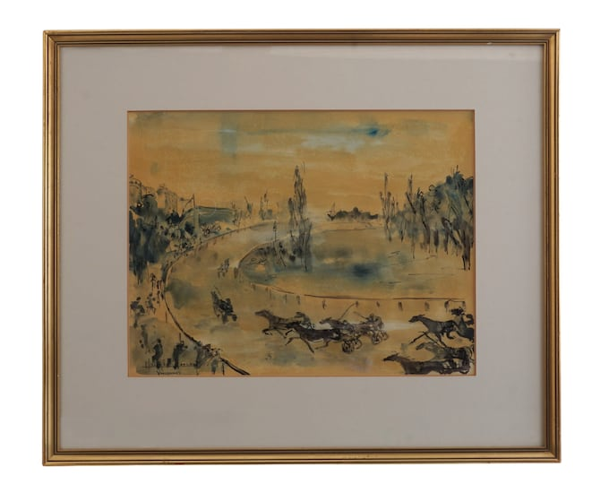 Horse Sulky Harness Racing Painting, Vintage Vincennes Racecourse Equestrian Art